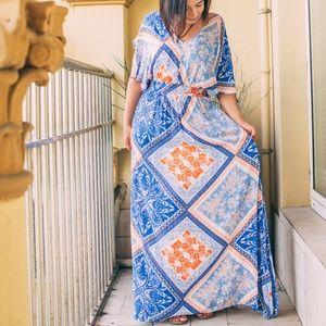 Dresses & Skirts - Boho Split Tie-Waist Vintage Print Maxi Dress